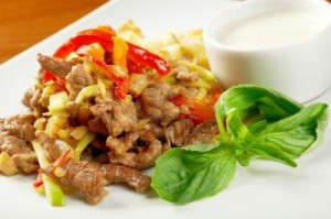 14673936-italian-cuisine-healthy-salad-with-meat-cracker-and-basil