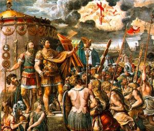 Явление Константину Великому Креста Господня. Картина Рафаэля Санти (1483-1520)